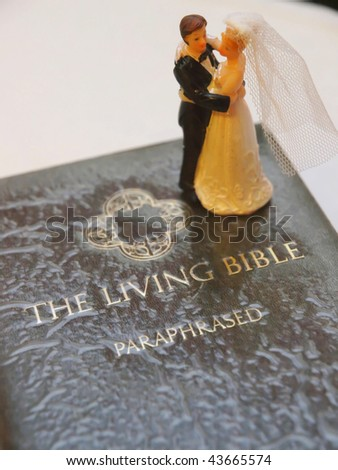 Wedding Figure on a bible. Close up - stock photo