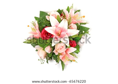 Wedding flower bouquet bouqet isolated white background rose lilly lily composition pink fresh spring bunch elegance garden orchids red stem gift love romance valentines day date floral florist bloom - stock photo