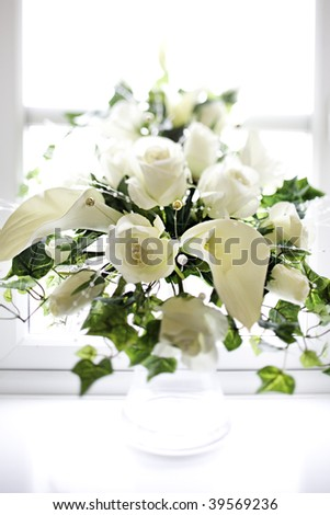 wedding flower bouquet waiting in preparation - stock photo