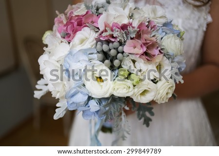 wedding flower bouquet with white orchids - stock photo