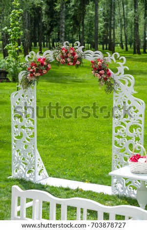 Wedding flower decorations open air stock photo edit now 703878727 wedding flower decorations in the open air junglespirit Image collections