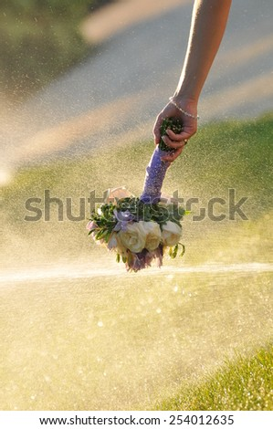 Wedding flower in water splash
