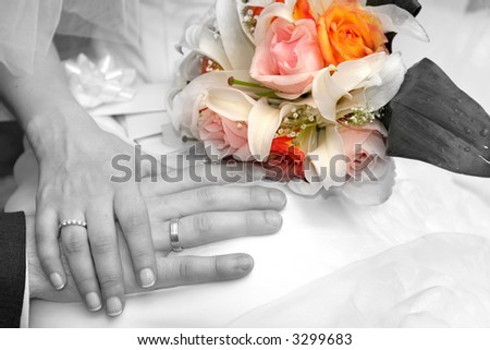 Wedding - flowers and rings - stock photo