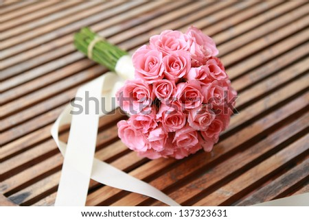 wedding flowers from pink rose flower. - stock photo