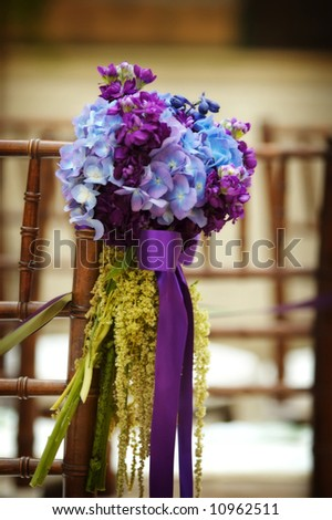 Wedding flowers in a church - stock photo