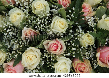Wedding Flowers In Pink And White Roses Gypsophila
