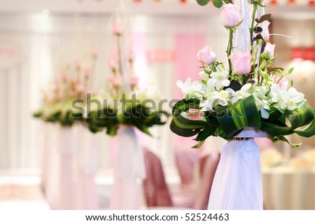 Wedding Flowers on the dinner table - stock photo