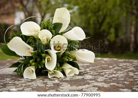 Wedding flowers on the stone - stock photo