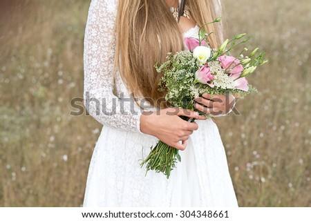 Wedding flowers. Wedding bouquet - stock photo