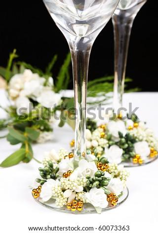 wedding flutes - stock photo