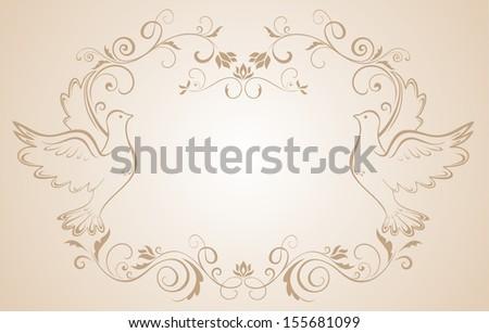 Wedding frame with doves. Raster copy - stock photo