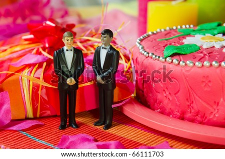 Wedding gay couple in front of a cake in pink still life