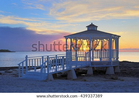 wedding gazebo at sunset