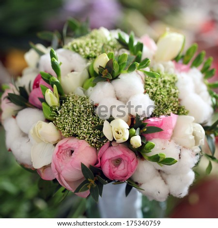 wedding gift bouquet of different flowers.