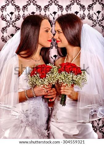 Wedding girl in bridal dress. Lesbian marriage photo - stock photo