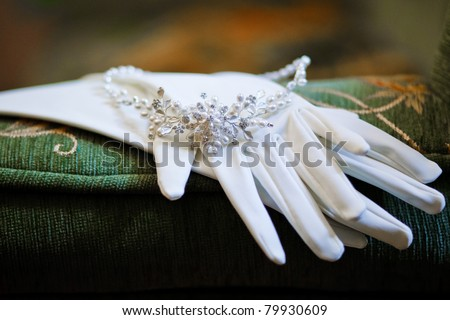wedding glovers with beautiful necklace - stock photo