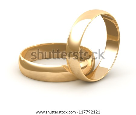 Wedding gold ring 3d. Isolated - stock photo