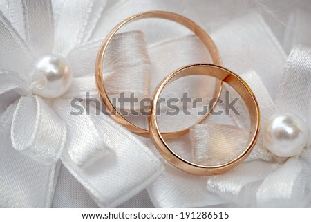 Wedding gold ring, decorations for a wedding celebration.