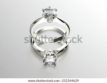 Wedding gold ring with diamond. Jewelry background - stock photo