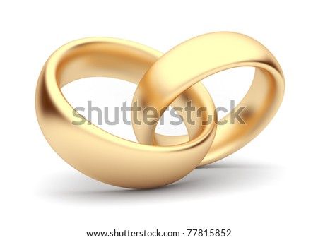 Wedding gold rings 3d. Isolated - stock photo