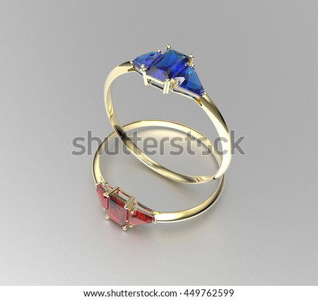 Wedding gold rings with diamonds. 3d digitally rendered illustration