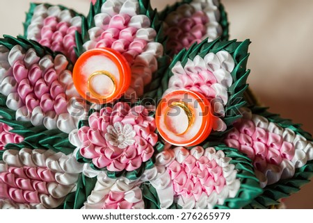 Wedding golden rings in Thai's wedding ceremony - stock photo
