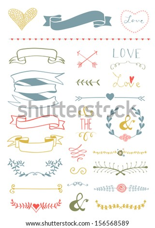 Wedding graphic set, arrows, hearts, laurel, wreaths, ribbons and labels - stock photo