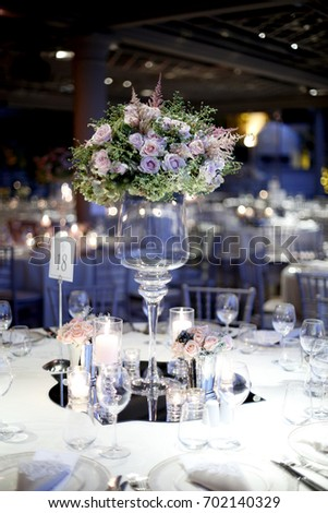 Wedding Guest Dining Table Decorations Wedding Stock Photo