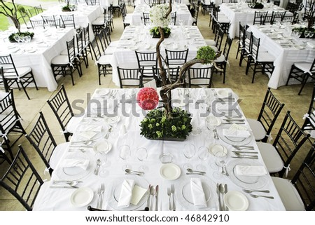 wedding guest dinner table set - stock photo