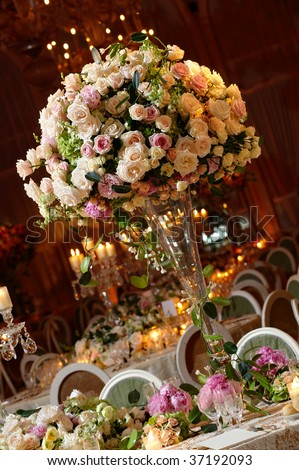 Wedding guest table set for an event - stock photo
