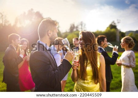 Wedding guests clinking glasses while the newlyweds drinking champagne in the background - stock photo