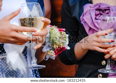 Wedding guests holding glasses of wine closeup - stock photo