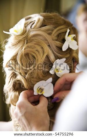 Wedding hairstyle - stock photo