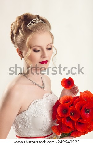 Wedding hairstyle poppies close up - stock photo