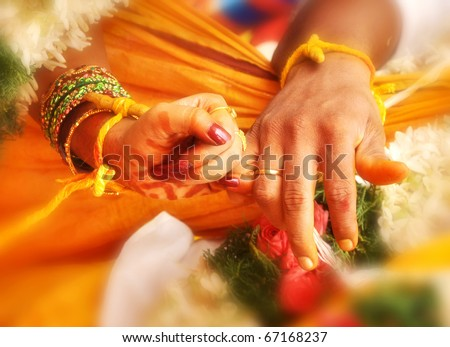 wedding hands in India marriage - stock photo