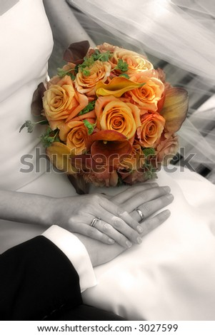 Wedding - hands - rings - flowers - sepia - stock photo