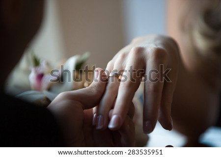 Wedding hands tenderness rings