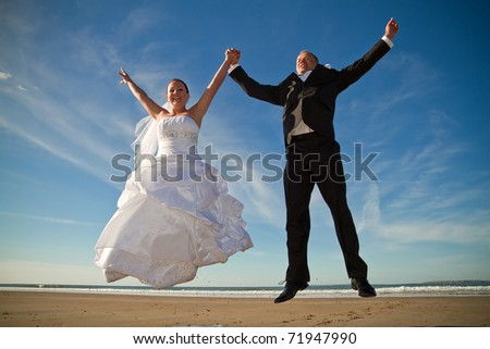 Wedding happy jump