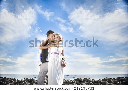 wedding, happy young man and woman celebrating