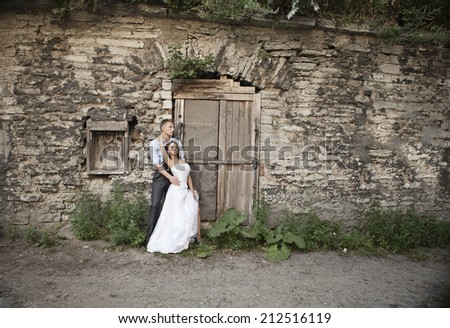 wedding, happy young man and woman celebrating  - stock photo