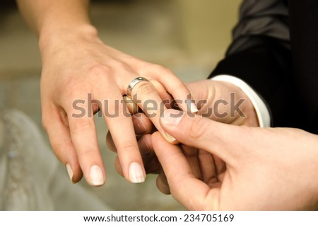 Wedding - holding hands - stock photo