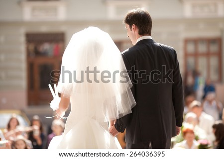 wedding in the church vow - stock photo