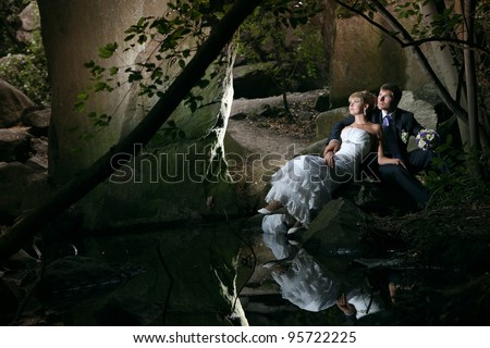 wedding in the woods near the lake - stock photo
