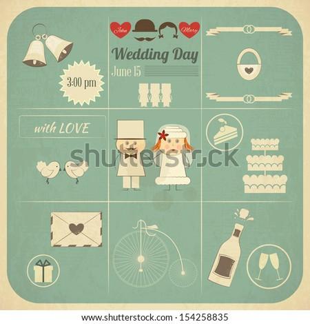 Wedding Invitation Card in Retro Infographics Style. Vintage Design, Square Format, Wedding Set. JPEG version - stock photo