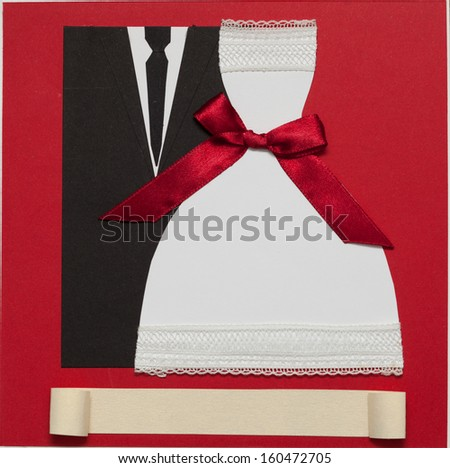 Wedding invitation card paper cutting design papercraft. elegant style