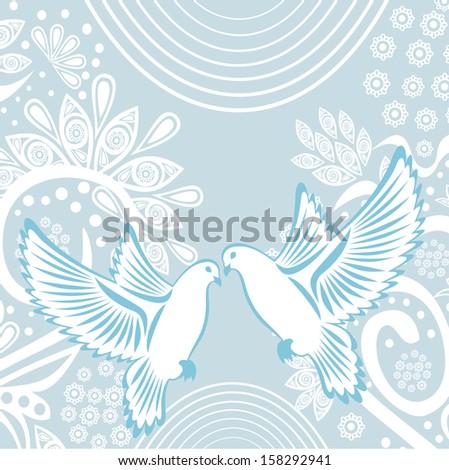 Wedding invitation card pigeons illustration - stock photo