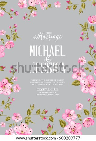 Wedding Invitation Card Template Spring Flowers Stock Illustration