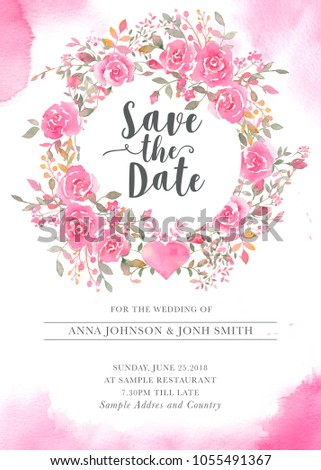 Wedding invitation card template watercolor rose stock illustration wedding invitation card template with watercolor rose flowers elegant romantic postcard layout with pink roses maxwellsz