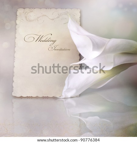 Wedding invitation card with calla lilies - stock photo
