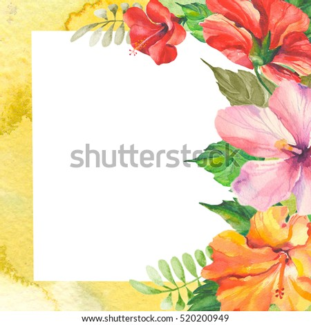 wedding invitation card with watercolor hibiscus